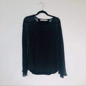 Black Flowy Cape Shirt